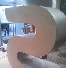 Aluminum block letters